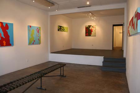 "Installation photo from the ""Chromatism"" solo exhibition from Lisa Marie Sipe at Eye Lounge, Phoenix, Arizona."