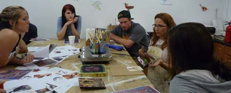 Lisa Marie Sipe teaching an encaustic workshop at Sober College in Woodland Hills, California.