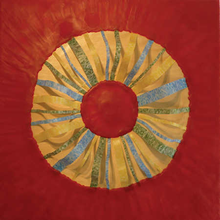"Lisa Marie Sipe, ""The halo that I wear,"" encaustic and mixed media on wood, 24 x 24 inches"