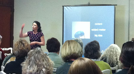 "Kim Bernard teaching ""What's Your Work About"" at the 5th International Encaustic Conference"
