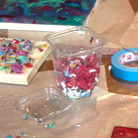painting with encaustic shavings