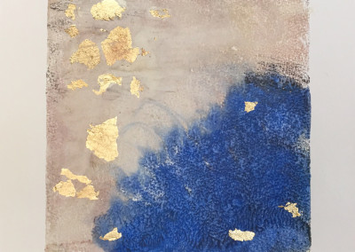 Ala, encaustic & gold leaf monoprint, Lisa Marie Sipe