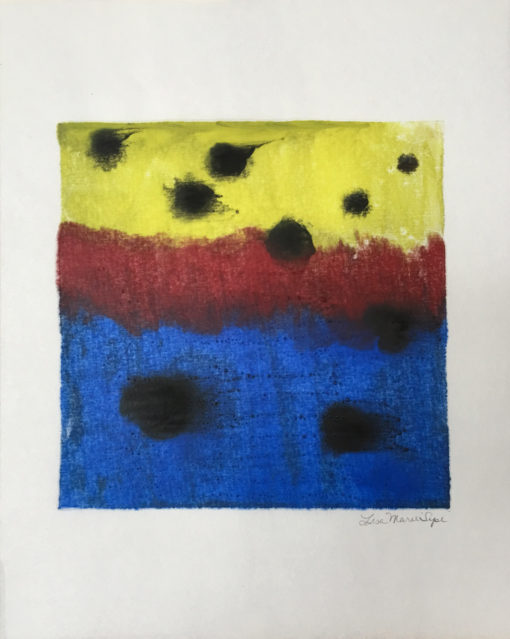 Black Dots, encaustic monoprint, Lisa Marie Sipe