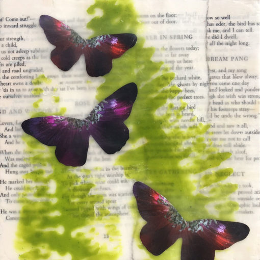 Spring Dream, encaustic, ferns, butterflies, Robert Frost poems, Lisa Marie Sipe