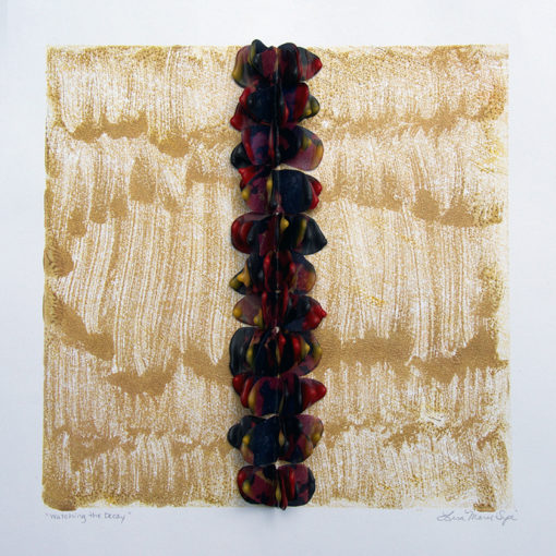 Watching the Decay, encaustic sculpture on paper by Lisa Marie Sipe