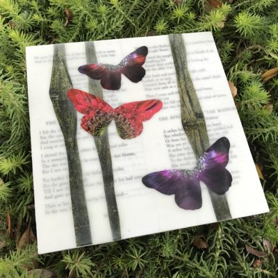 Encaustic collage of butterflies, trees and Robert Frost poems by Lisa Marie Sipe