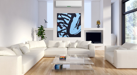 Falling Into Pollock by Lisa Marie Sipe in a white modern living room.